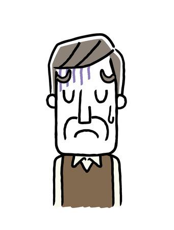 Senior male is depressed or sad icon.