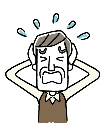 Senior male is panicking icon. Иллюстрация