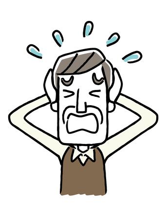 Senior male is panicking icon. Illustration
