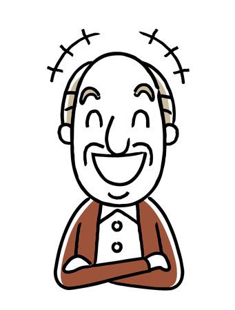 Senior male laughing icon. Illustration