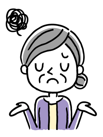 Senior woman: Troubled, disappointed, sorry Illustration