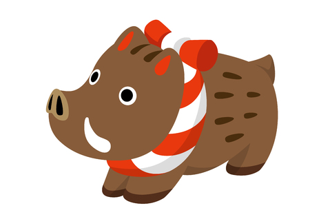 New Year card material: wild boar