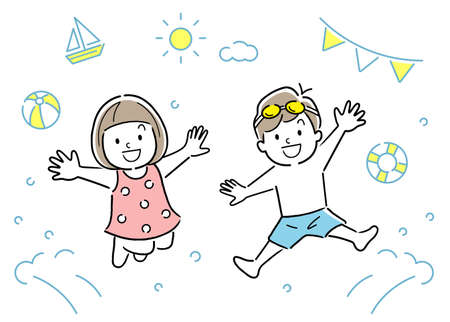 Vector illustration: children jumping in pool, sea