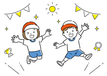 Vector Illustration: Athletic Meet, Jumping Kids Vectores