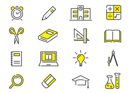 Vector Illustration: Learning, Study Icon Set, Collection Vectores