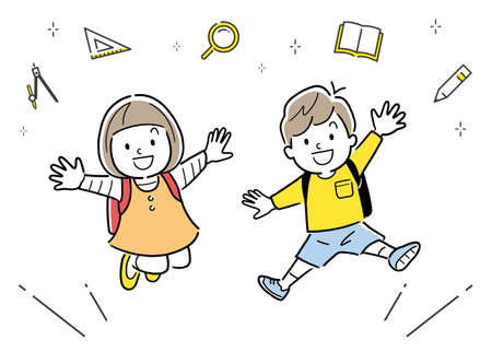 Vector illustration: Elementary school man and woman jumping with school bag on their back Vectores