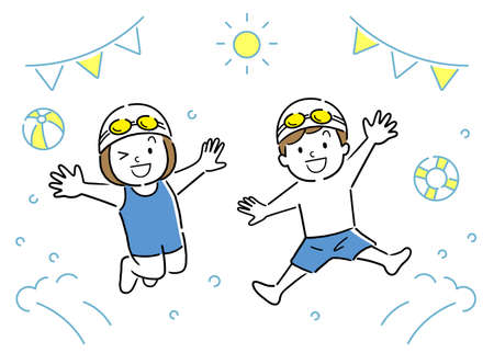 Vector Illustration: Pool, Kids Jumping Vectores