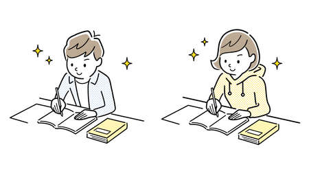 Vector Illustration Material: Boys and Girls Studying
