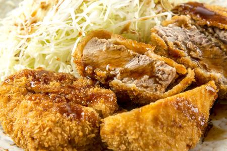 sizzle: Pork cutlet Stock Photo