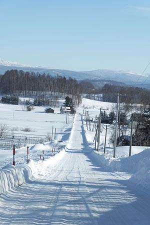 wintering: Snow road Stock Photo