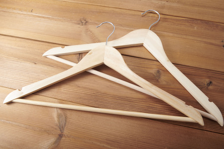 Wooden hanger hanging clothes