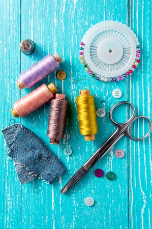 ripper: Set for sewing and needlework on a wooden board in Shabby Chic style - thread, seam ripper, scissors, buttons, pins