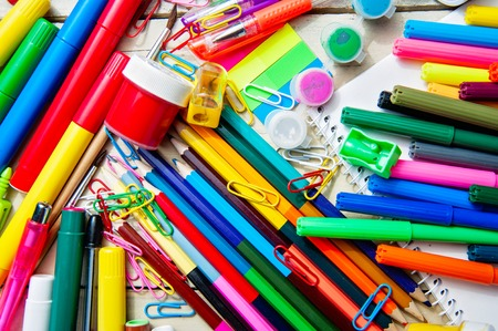 assortment: Full background of a colorful assortment of school supplies Stock Photo