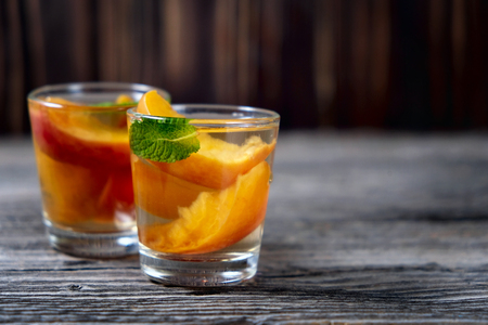 delicious and cold peach cocktail