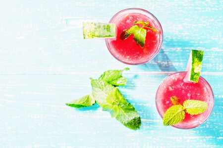 Watermelon smoothie Mojito with mint, copyspace top view