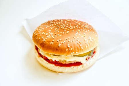 Big hamburger on white background closeup