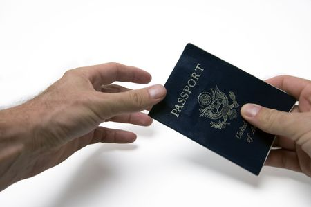 a man passing his passport to be checked