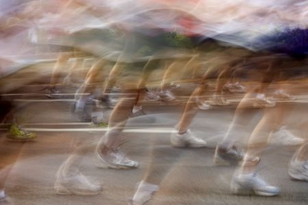 Blurred runners at the Peachtree Road Race