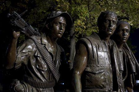 Viet Nam War Memorial statue at night