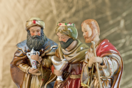 three month: Three wise men gathered to present gifts Stock Photo