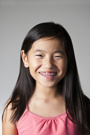 very happy young Chinese girl with braces photo