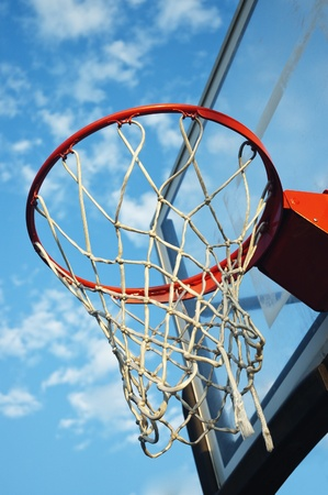 Close up view of a basketball net against th eblue sky