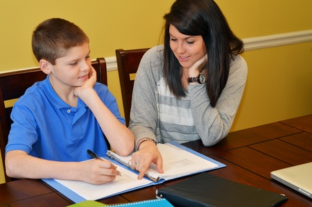 sister: Tutor helping a young student with his studies