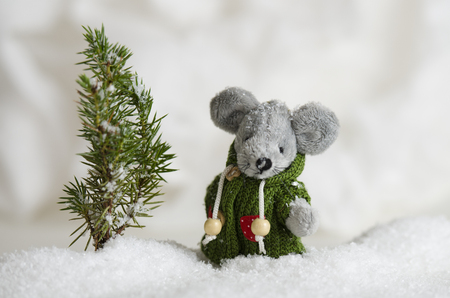 Cute little mouse standing in a snow drift Stock Photo