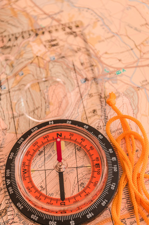 Compass on Map  photo