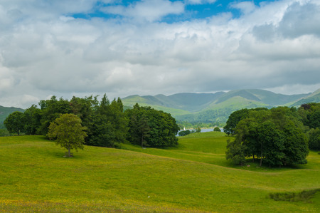 Lake District The Fairfield Horseshoe from Wray Castle Cumbria photo