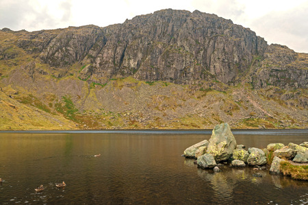langdale pikes: Pavey Ark, Jacks Rack,Stickle Tarn Stock Photo