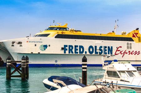 playa blanca: Playa Blanca, Lanzarote, Canary Islands Spain - December 13, 2014: The Ferry Bocayna Express,Fred Olsen Line in the harbour at Playa Blanca Lanzarotte