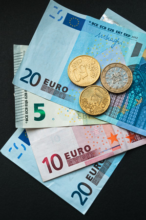 number 50: European Currency Euro Banknotes and Coins