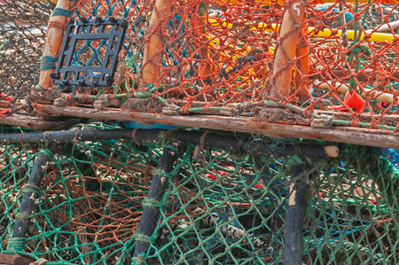 crab pot: Stack of lobster crab pots traps