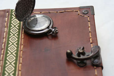 Journal book with pocket watch
