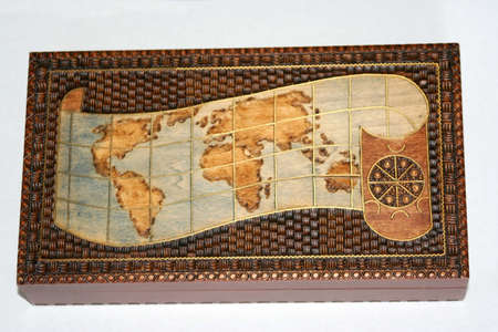 Box with a map of the world