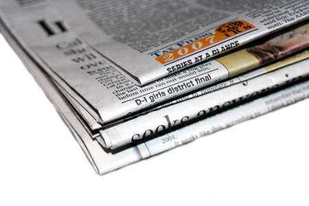 inform information: Pile of newspaper on white background