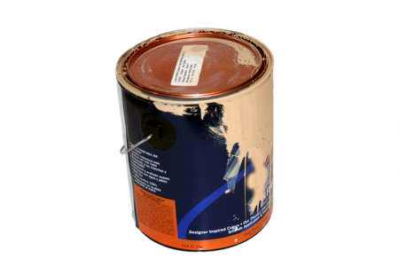 Used paint can on white background
