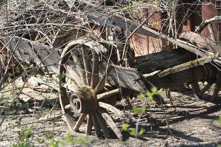 Old wood wagon wheel