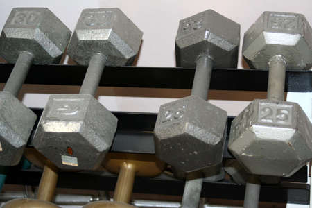 Weights on a rack