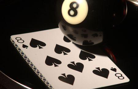 eight ball: Billiards and cards,Eight of spades and eight ball