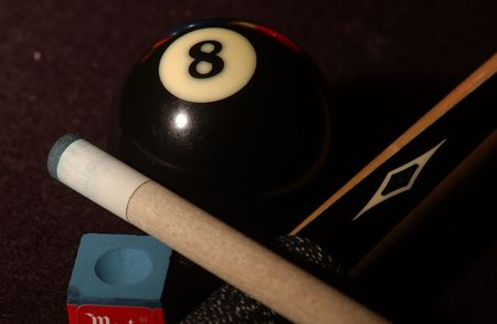 eight ball: Billiards,Cue, chalk and eight ball