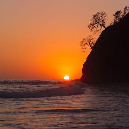 Costa Rica,Costa Rican shoreline at sunset