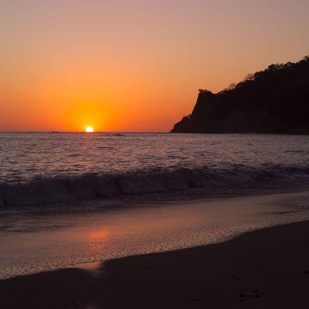 rican: Costa Rica,Costa Rican coastline at sunset Stock Photo