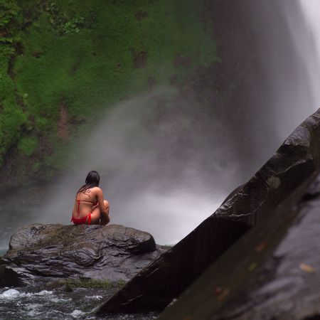 Costa Rica,Woman at water fall photo
