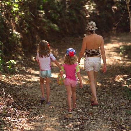 vacationing: Vacationing in Costa Rica,Mother and children walking through forest