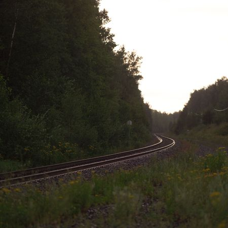 Lake of the Woods Ontario Canada,Railway tracks through forest Stock fotó - 2345879