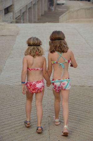 Forma de vida México, muchachas de la familia en bañadores