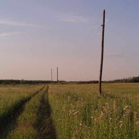 unkempt: Canadian Prairies,Dirt road Stock Photo