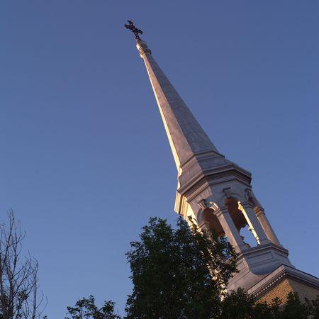 crucifixes: Canadian Prairies,Church Steeple Stock Photo